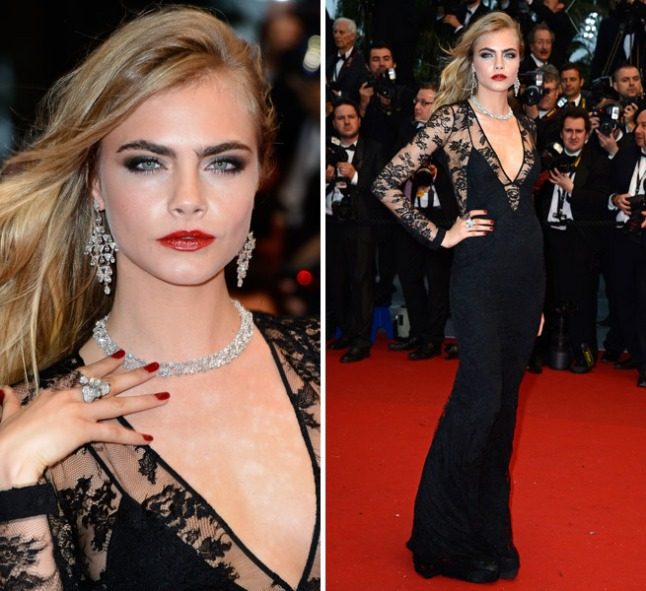 Cara-Delevingne-Arrives-For-The-Cannes-Film-Festival-With-A-Burberry-Bag-In-Tow
